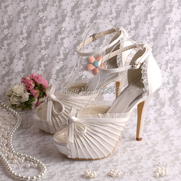 (15 Colors)Custom Fashionable High Heel Platform Sandals Wedding Bridal  Cream Color Satin Free Shipping 979438a1fc13