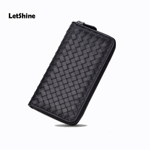 LetShine. Brand design bag Sheepskin Genuine Leather Knitting Men&Women Long Wallet Women culth Purses And Handbags