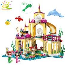 HUIQIBAO TOYS Elsa Ice Castle hercegnő Anna modell építőelemek lány figurák kompatibilis Legoe barátok oktatási játék gyerekeknek
