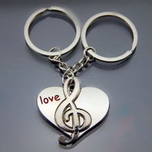free shipping 100sets/lot zinc alloy music in heart keychain customize wedding keychain sets favors and return gifts favors