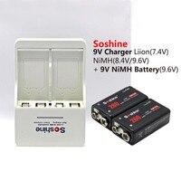 2pcs 9V battery soshine Original 9v rechargeable 260mAh 9v NI mh batteries + 1pcs battery charger fast charge EU or US plug