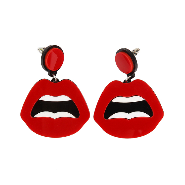European Fashion Punk Jewelry Club Red Sexy Lips Earrings For Women Hip Hop Accessories