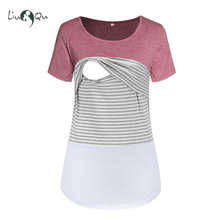 Liu & Qu Women's Maternity Top Striped Splice Nursing Tops Short Sleeve Stitching Breastfeeding Clothes T-Shirt Pregnant Top Tee