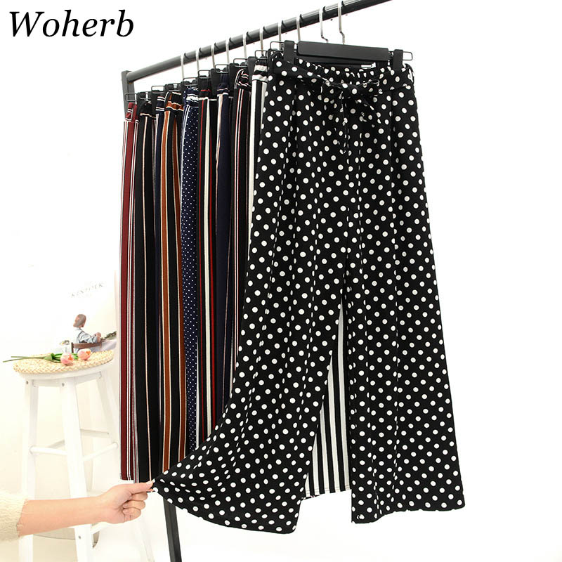 Woherb 2019 Summer Korean   Pants   Women Striped High Waist   Wide     Leg     Pants   Casual Elastic Waist Ankle-length   Pants   With Belt 21066