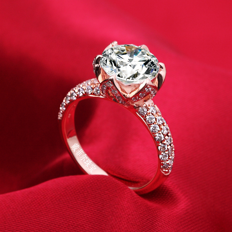wholesale 3 carat flower shaped Simulated stone Wedding rings women