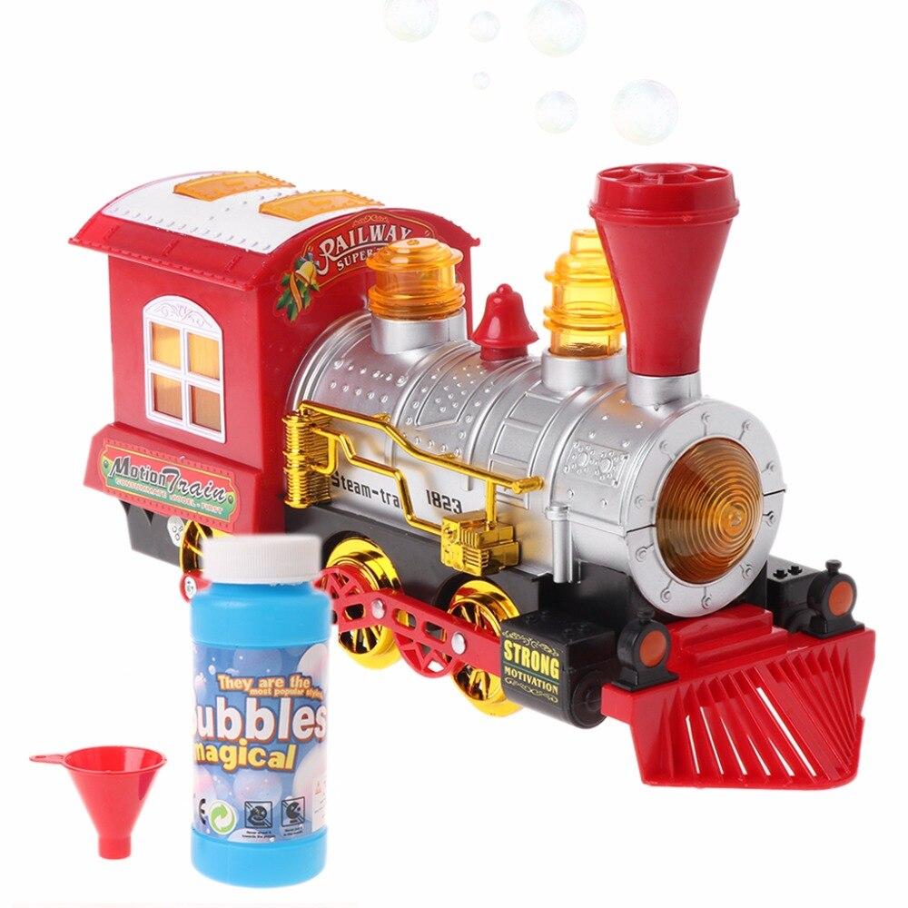 Locomotora motor con luz y música burbuja que sopla tren de juguete con pilas
