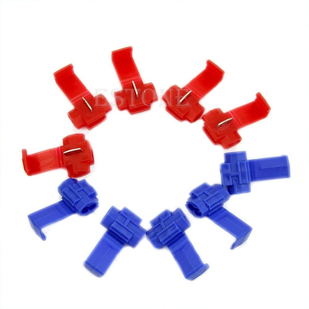 OOTDTY 10pcs Scotch Lock Quick Splice 18-14 AWG Wire Connector 25pcs scotch lock quick splice 12 10 awg wire connector yb