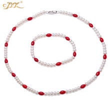 JYX 5-5.5mm Nature white Freshwater Pearl 5mm rice red Coral Bead Jewelry set Necklace Bracelet Elegant Women Gift 17/7inch недорого