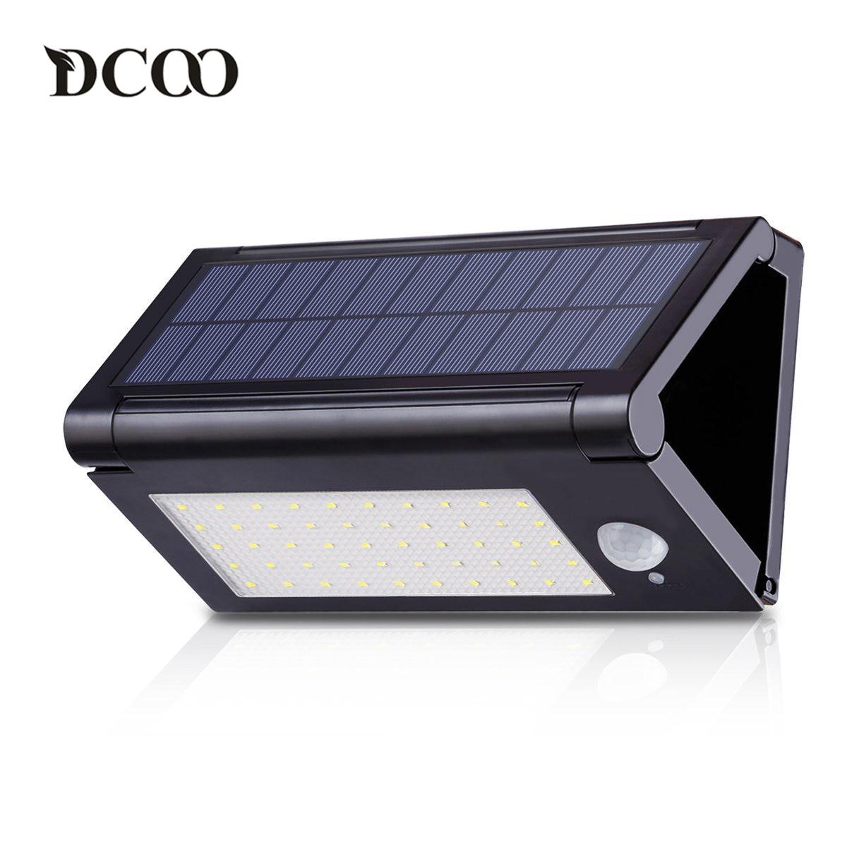 dcoo luzes solares 50 leds sensor de movimento ao ar livre luz dobravel 3 modos de