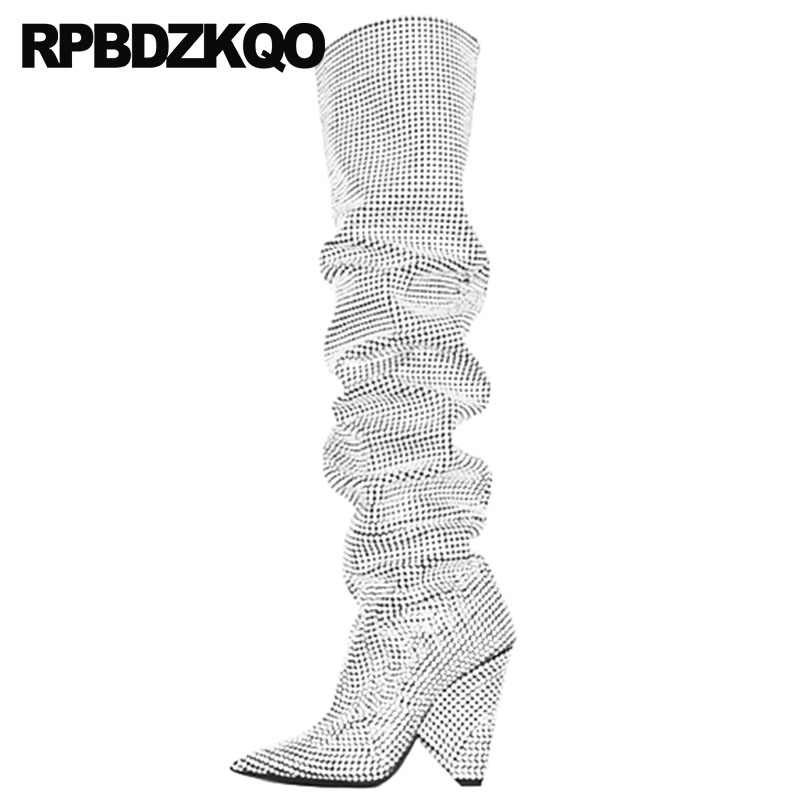 dirt cheap sale clearance prices ladies silver knee high over the dance wide calf heel chunky thigh ...