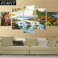 Landscape Waterfall Home Decoration 5d Diy Diamond Painting 5pcs Round Drill Full Diamond Embroidery Triptych Cross