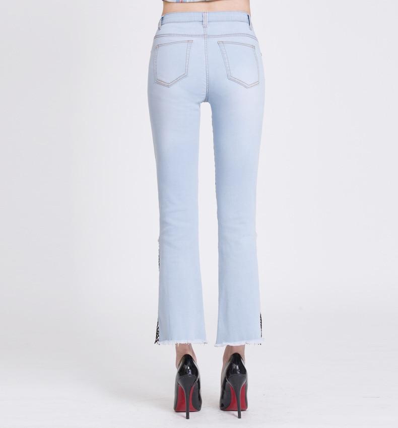 KSTUN hight waist jeans woman bell bottom emboridered denim pants push up net designer women slim fit gloria+jeans plus size 36 17