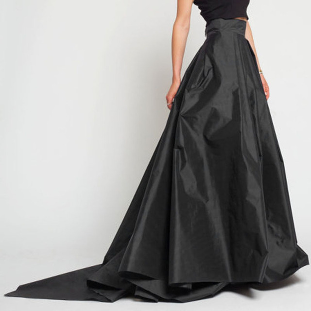 England Style Ball Gown Maxi Skirt Black High Waist Pleated Long ...