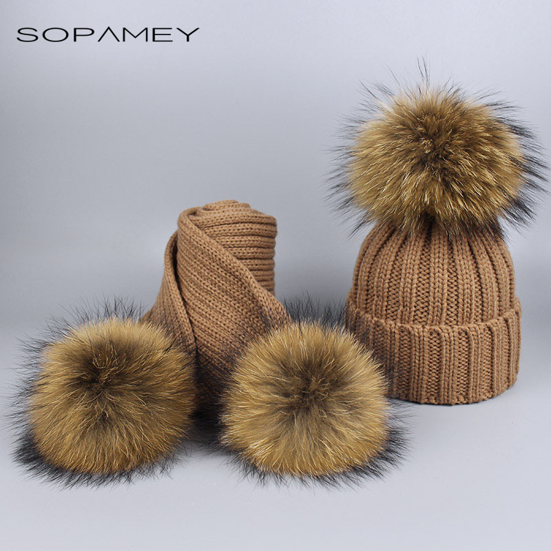 2017 Girl Pom Pom Beanie Warm Knitted Bobble Fur Pompom Hat and Scarf Set Children Real Raccoon Fur Pompon Winter Hat Skullies