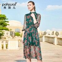 POKWAI тяжелый шелк платье большой бренд 2019 новый летний модный принт семь точек рукав цветочный шелк тонкий платье
