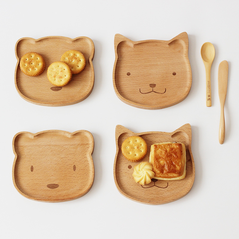 Wooden Baby Food Dishes Plate Kids Feeding Eating Set Platos Children Baby Servies Tableware Bowl Topper Tray Assiette Enfant