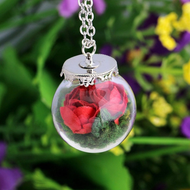 1pcs nice rose dried flower necklace paper rose flowers glass 1pcs nice rose dried flower necklace paper rose flowers glass bottle pendant necklace jewelry gift mozeypictures