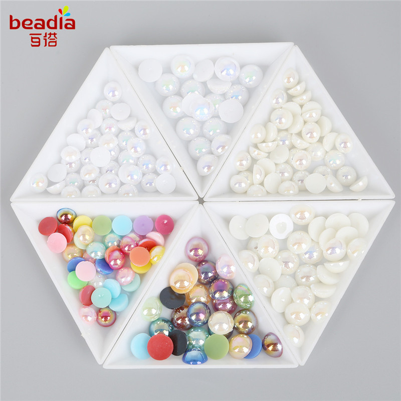 Beads 3/4/5/6/8/10/12/14mm Plastic Abs Color Imitation Pearl Beads Half Round Flat Back Beads For Jewelry Making Diy Craft Accessories To Win A High Admiration