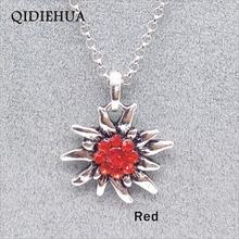 QIDIEHUA 6 Colors New German Antique Silver Flower Pendant Necklaces For Women Oktoberfest Austrian Edelweiss Necklace Wholesale