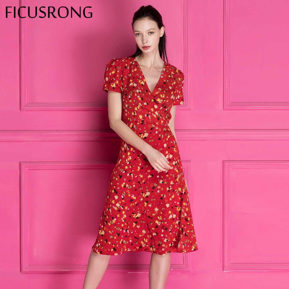 2019 Новое винтажное платье с глубоким v-образным вырезом на шнуровке женское с буфами рукав летнее платье женское элегантное Цветочное платье с принтом, платье FICUSRONG