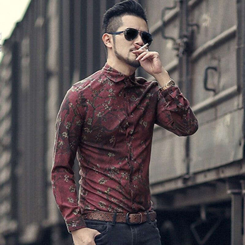 Men new winter Vintage shirt printed flower long sleeve shirt men slim fashion cotton European style quality brand shirt S2333 Рубашка