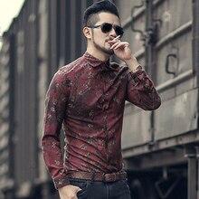 Mannen nieuwe winter Vintage shirt gedrukt bloem lange mouwen mannen slim mode katoen Europese stijl kwaliteit brand shirt S2333