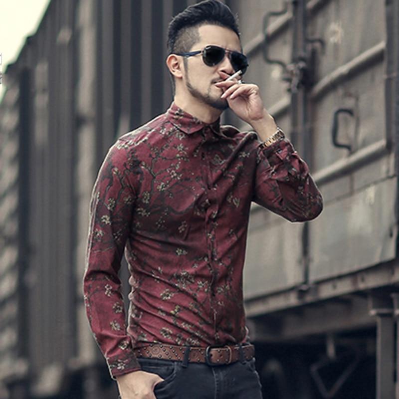 Men New Winter Vintage Shirt Printed Flower Long Sleeve Shirt Men Slim Fashion Cotton European Style Quality Brand Shirt S2333