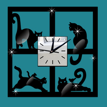 3D Crystal Mirror Wall Clock Black Cat Decorative Clock Vintage Home Wall Decor Acrylic Home Clock Decorative Hanging Wall Clock