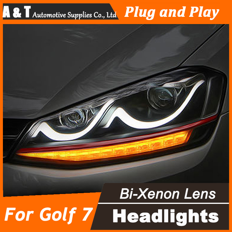 Car Styling for VW Golf7 Headlights Golf 7 LED Headlight Smile DRL Lens Double Beam H7 HID Xenon bi xenon lens pair of headlight assembly for vw golf 5 suitable for halogen bulbs and led headlights