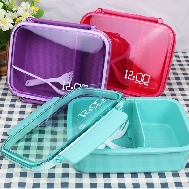 Mini Cute Lunch Bento Box Creative 12:00 Lunch Box Plastic Food Container Fruits Box cute hamburger lunch box with utensils set