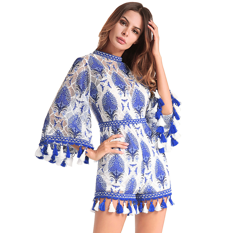 Fashion Bohemia Womens Summer Ethnic Tassles Floral Printed Tunic Embroidery Flare Sleeve Tunic Jumpsuits Rompers One Piece