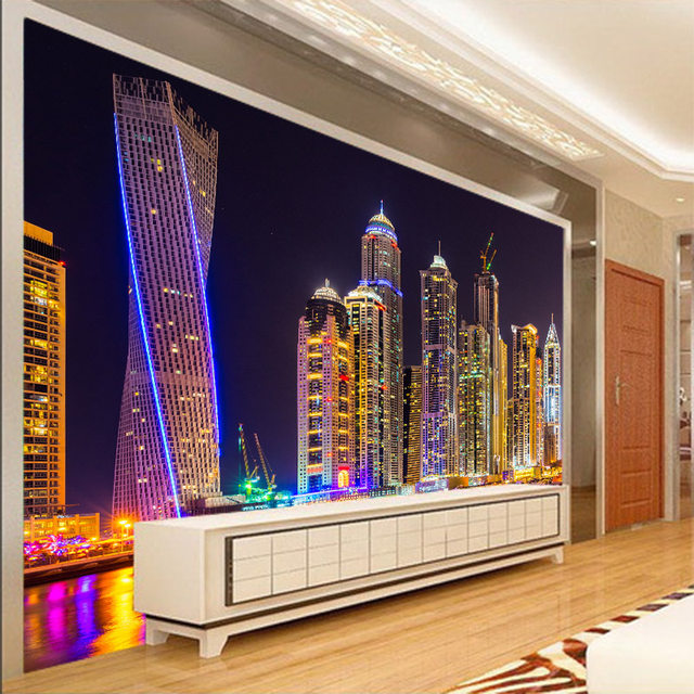 Custom 3d Mural City Night View Wallpaper Bedroom Restaurant KTV Bar  Television Sofa Background Neon Light Wallpaper Mural