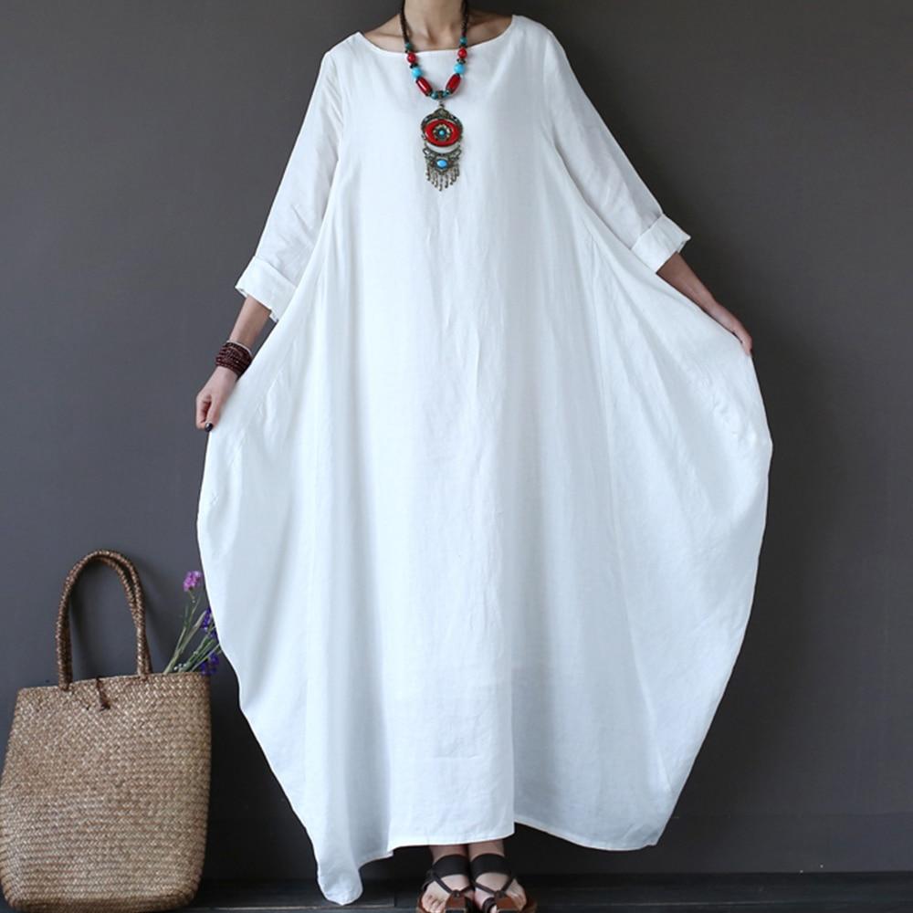b5192de445 ... Cotton Linen Summer Dress Plus Size Boho Loose White Long Maxi Dresses  Women Female 3 4 Batwing Sleeve Robe Dress. -27%. Click to enlarge