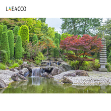 Laeacco Green Spring Garden Tree Stone Way Waterfall Lake Natural Scenic Photo Backgrounds Photography Backdrops Studio