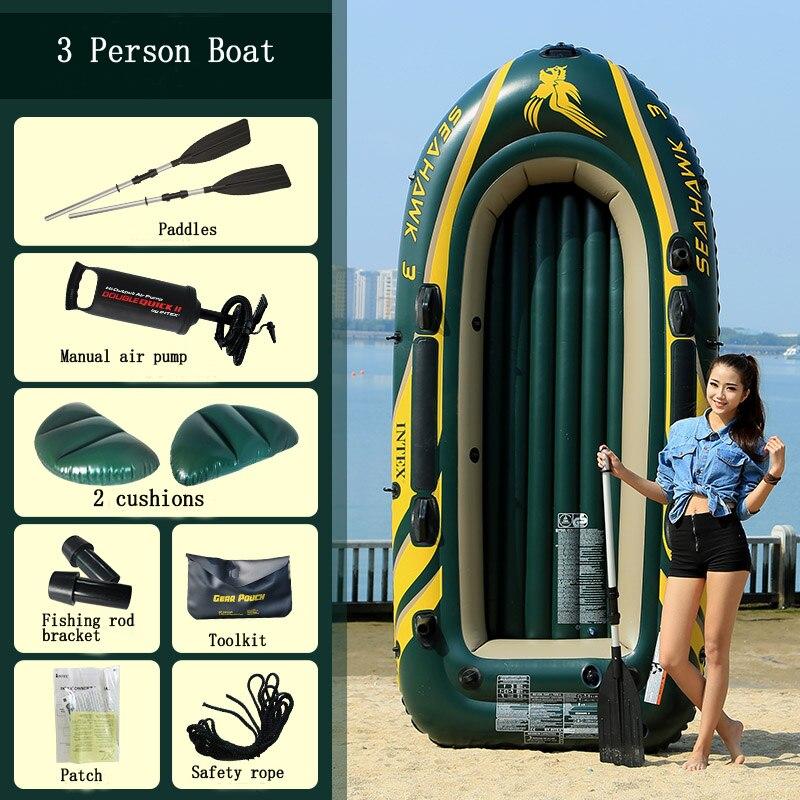 INTEX épaissi 3 personnes utiliser bateau gonflable canot de pêche kayak pliant bateau d'assaut