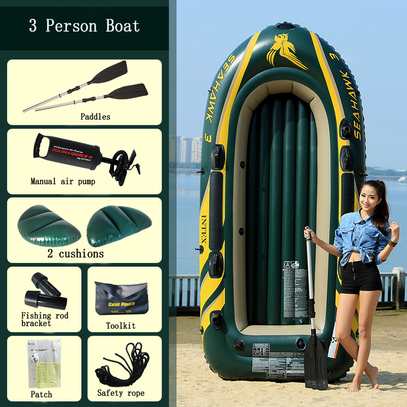 INTEX thickened 3 person use inflatable boat dinghy fishing kayak folding assault boat