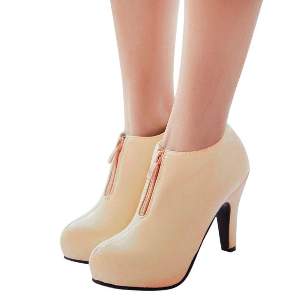 Botas Y1229 Beige Con Caviglia Casual Rotonda Zip Solido Giallo Donne Nero tacco blu il Scarpe Alto Pelle Di 2019 colore Femminili Modo Super Mujer Delle Alla Punta Stivali Caldo OqvwRUBgx