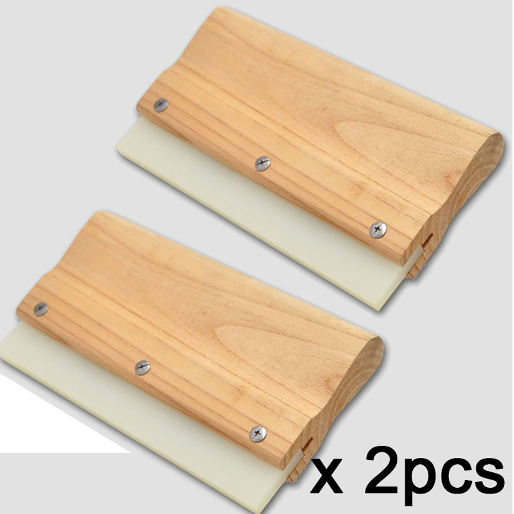 Ehdis 2pcs Professional Wool Handle Rubber Squeegee Window