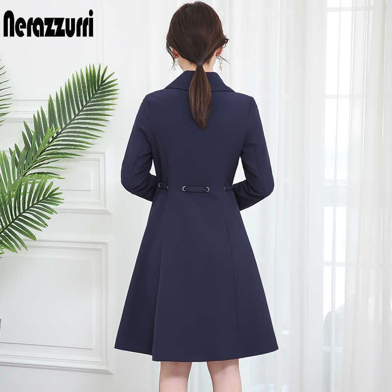 Nerazzurri frühling herbst mantel frauen navy blau schärpen 2019 herbst frauen mode elegant graben plus größe lange outwear 5xl 6xl 7xl