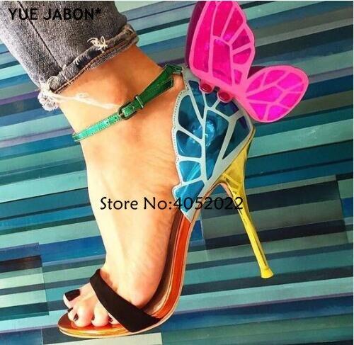 YUE JABON kolorowe, metalowe, haftowane skórzane sandały skrzydła anioła pompy sukienka na imprezę buty motyl kostki wrap wysokie obcasy w Wysokie obcasy od Buty na  Grupa 1