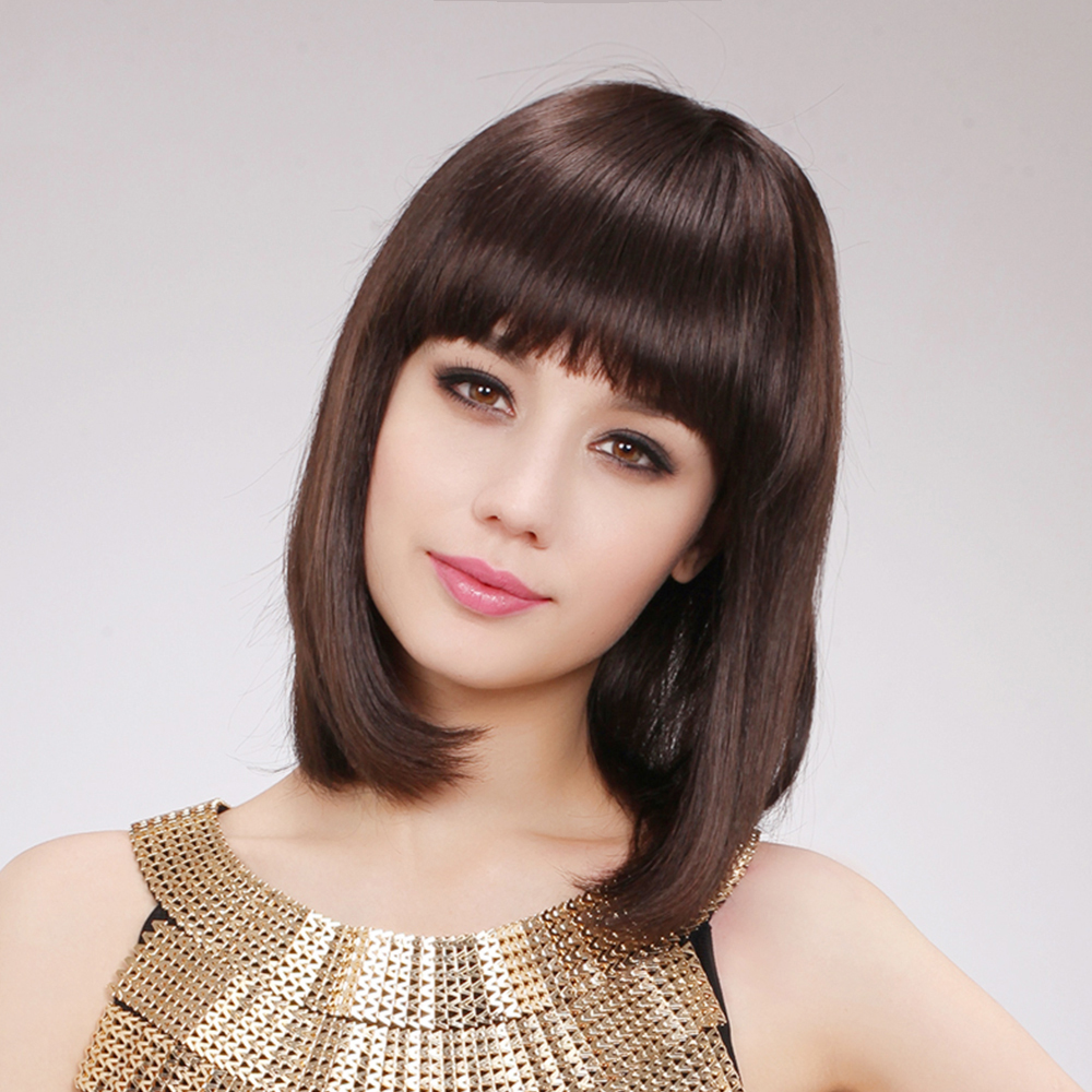 BLONDE UNICORN 12 Inch Women Synthetic Bob Wig With Flat Bangs Straight Hair Dark Brown Shoulder Length Full Wig for White Women
