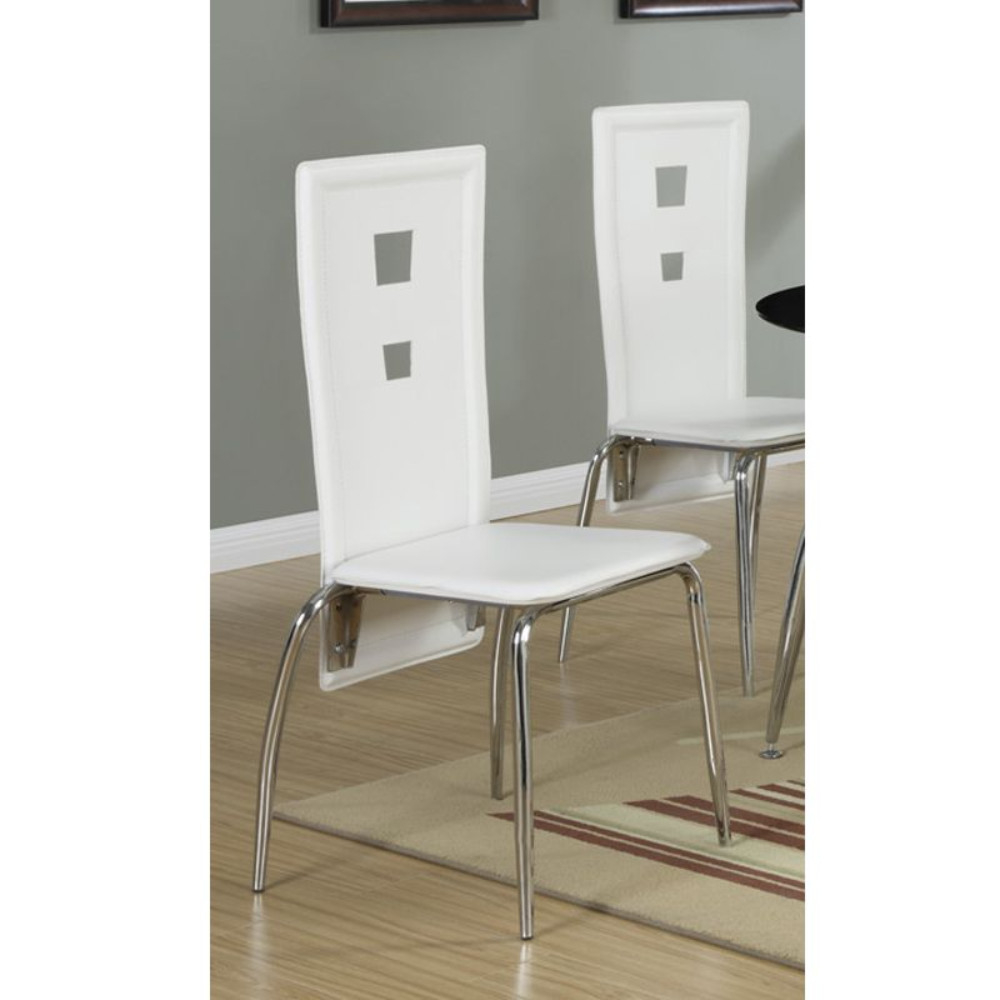 Set Of 2 Metal Dining Chair With Cutout Back, White And Chrome light blue cutout back