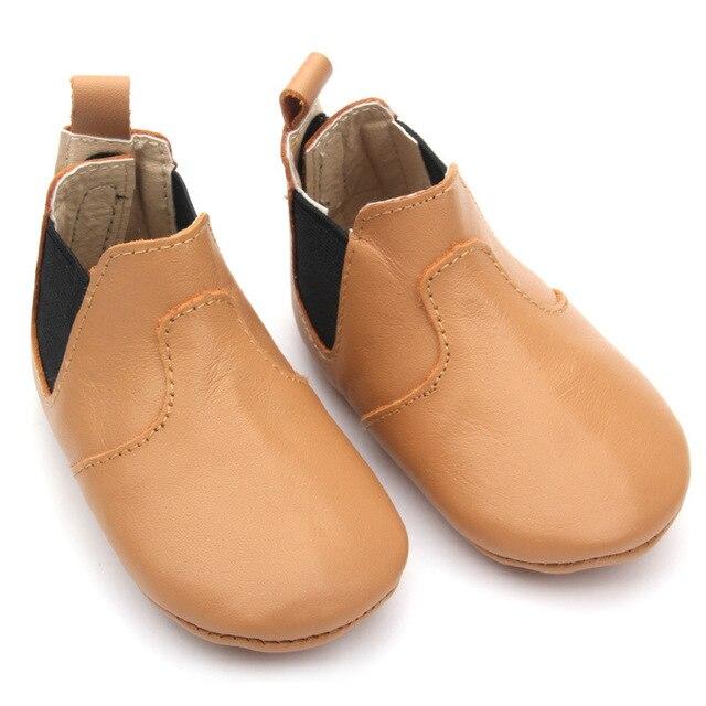 2017 Новый дизайн Натуральная кожа детские ботинки мягкой подошвой детские мокасины мода сначала ходунки резинкой Малышей новорожденных обувь