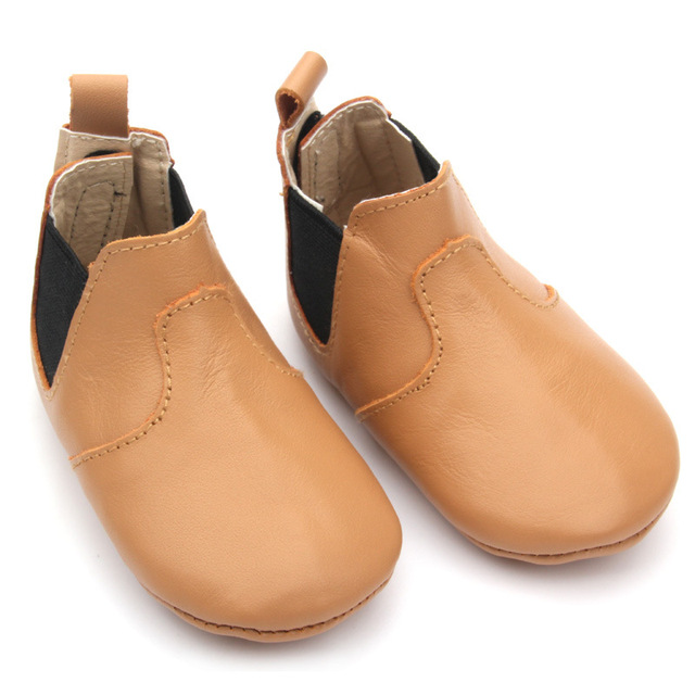 2017 Nuevo diseño de cuero Genuino bebé botas blandas soles mocasines bebé moda primeros caminante Elastic band Niño zapatos recién nacidos