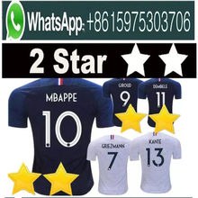 2 Stars France soccer jerseys GRIEZMANN MBAPPE POGBA 2018 world cup shirts  DEMBELE MARTIAL KANTE jerseys 3fbc23c97