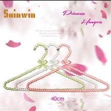 Sainwin 10 шт./партия 40 см пластиковая вешалка жемчужные вешалки для одежды колышки принцесса прищепки вешалка для свадебного платья 10 цветов