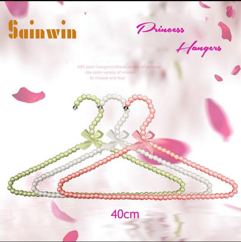 Sainwin 10 teile / los 40 cm Erwachsene Kunststoff Kleiderbügel Perle Kleiderbügel Für Wäscheklammern Prinzessin Wäscheklammern Hochzeitskleiderbügel 10 Farbe