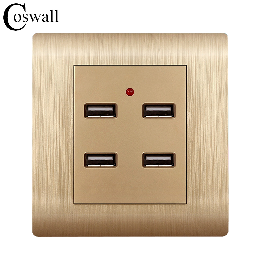 Coswall Brushed Gold Home Hotel Wall Socket Panel USB Outlet 4 USB...