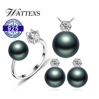 Pearl earrings necklace Pendant ring for women natural Freshwater black pearl jewelry set 925 sterling silver jewelry sets gift