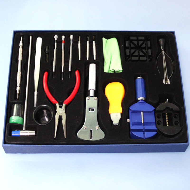 Durable Portable 20Pcs Watchmaker Watch Repair Tool Kit Clock Kit Strap Down the bottom Opener herramientas watch tools Adjuster new tool for watch repair tool kit set watch case opener link spring bar remover screwdriver tweezer watchmaker dedicated device